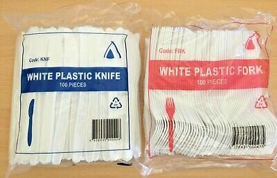 100 Pack Of White Disposable Plastic Knives &/ Or Forks Party Cutlery Tableware