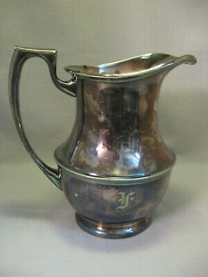 Bernard Rice Sons Water Beverage Pitcher Monogram F Apollo EPNS 1852-1959