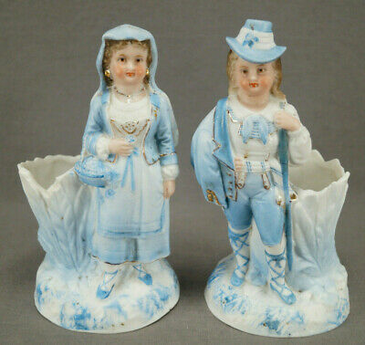 Pair of German Hand Painted Blue & White Bisque Figurine Spill Vases Circa 1870s