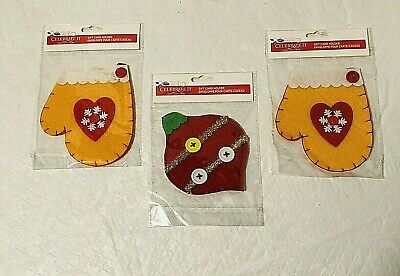 Christmas Mitten Ornament Gift Card Holder Set of 3 New Celebrate It