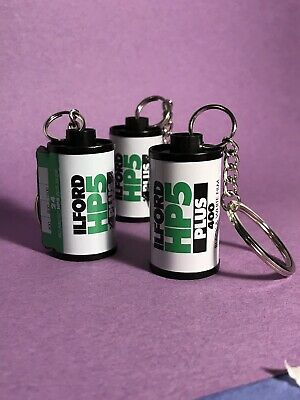 3 35mm Film Canister Keychains Ilford HP5 Plus 400