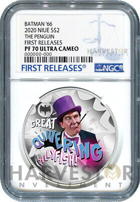 2020 Batman '66 Silver Coin - Penguin - Ngc Pf70 First Releases W/Ogp Tv Show