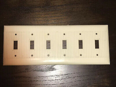 Vintage Ivory Sierra Ribbed Bakelite 6-Gang Toggle Switch Wall Plate