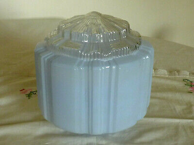 VINTAGE ART DECO  PALE BLUE AND CLEAR GLASS CEILING LIGHT FITTING LAMP 1930's