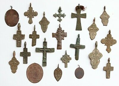 Job Lot Of 17 Authentic Medieval Bronze Crosses