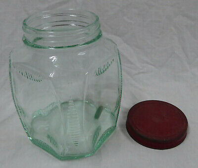 Vintage Green Glass Jar with Red metal Lid