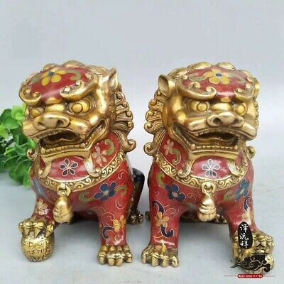 A pair EXQUISITE Chinese Cloisonne hand-Carved Red brass martial lion statue YR