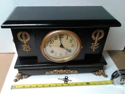 Antique New Haven Black Mantle Mantel Clock 8 day time and strike, working great