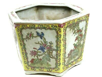 VTG Chinese Jardiniere Planter Vase Bowl Pot Hexagon Hand Painted Panels