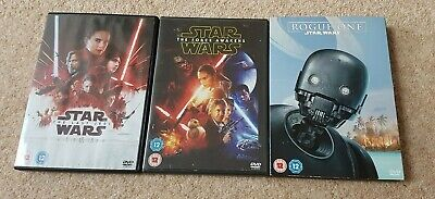 Star Wars Dvd's  x3  ( The Force Awakens/The Last Jedi/Rouge One)