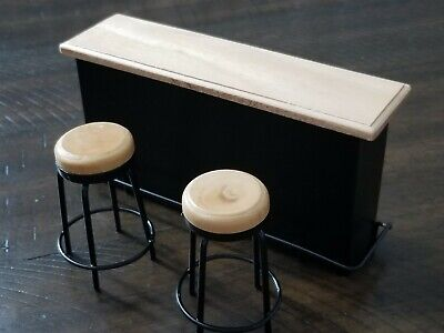 Dollhouse Miniature Bar Set with Two High Stools in Mahogany ~ T3183