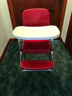 VINTAGE 50'S COSCO Baby Chair Feeding Play Table Red Vinyl