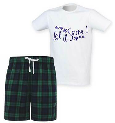Mens Let It Snow Christmas Tartan Short Pyjama Set Family Matching Twinning