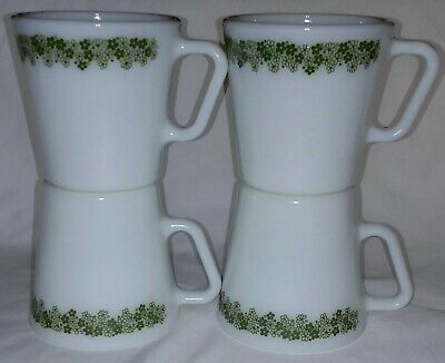 set of 4 vintage Pyrex coffee cups mugs Spring Blossom Crazy Daisy green flower