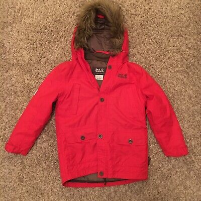 Jack Wolfskin Hooded Texapore Girl Boy Red Jacket Coat Parka size 140 Age 10-12