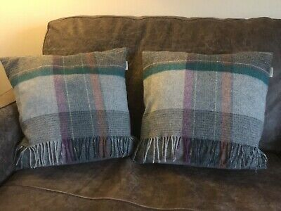 "Bronte By Moon Tartan Cushions X 2 Grey Multi 16""  Excellent Condition"