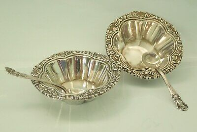 pair antique solid silver table salts hallmarked 1903 decorated matching spoons