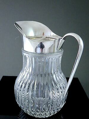 Gorgeous Vintage ITALIAN Silverplate Mounted CUT GLASS WATER PITCHER W/ICE LIP