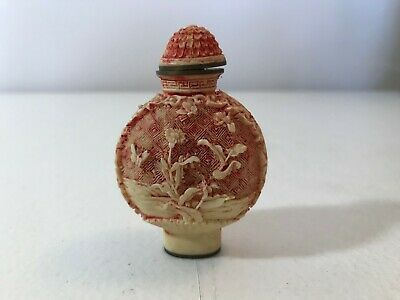 ANTIQUE SM CHINESE HAND CARVED RED SNUFF BOTTLE w/LID FLORAL FLOWERS