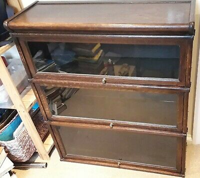 Globe Wernicke antique hardwood glass-fronted stacking bookcase display cabinet