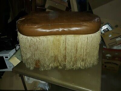 Vintage Upholstered OTTOMAN HASSOCK FOOT STOOL w/ Fringe