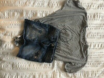 Girls HM Denim Skirt And River Island Body Suit Aged 5-6