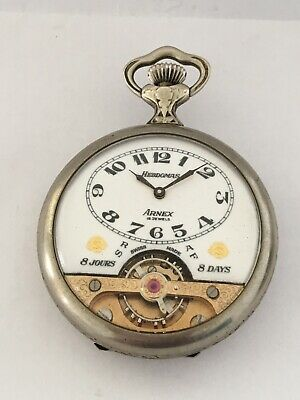 Antique Silver Swiss 8 Day Hebdomas With Visible Escapement Pocket Watch