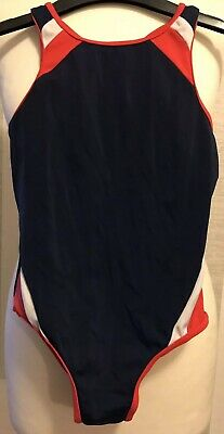 Women's MARKS AND SPENCER Navy And Red Swimming Costume In Age 6 Years Old