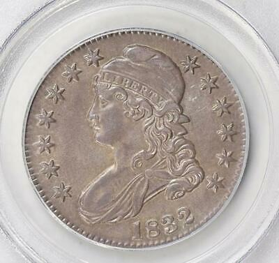 1832 PCGS AU58 Capped Bust Silver Half Dollar Small Letters Toned Nice Type Coin