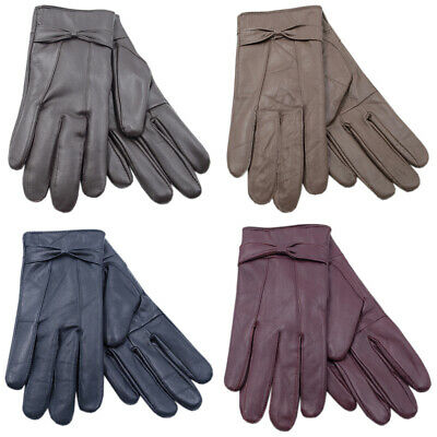 Ladies Leather Gloves Fleece Lined Warm Winter Bow Thermal Women Driving Outdoor