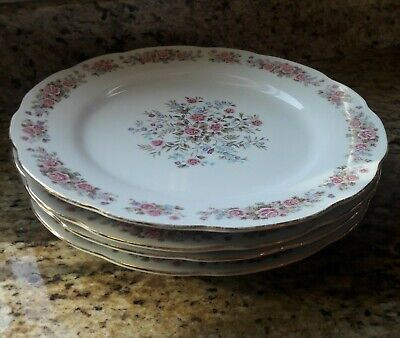 Remington by Red Sea Dinner Plate Lot of 4 Fine China Pink Flowers Roses Vintage