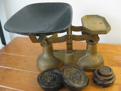 ANTIQUE SCALES-Cast Iron British Make Patent 25556 (1800's) Weights / Pan -RARE!