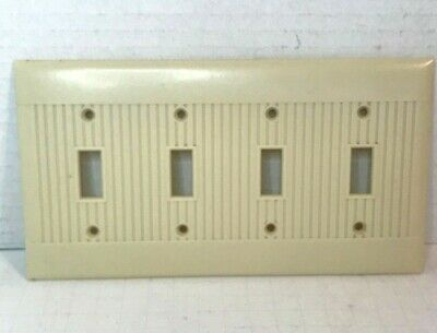 Vintage Deco Ribbed Ivory Bakelite 4 Toggle Switch Plate
