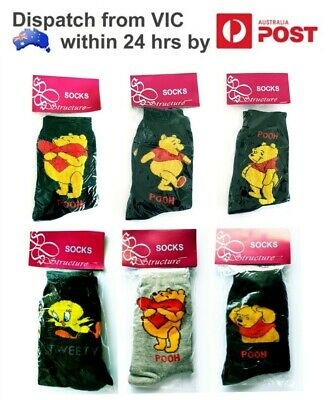 Children Kids Black Grey Cotton Character Socks Disney Winnie the Pooh Tweety