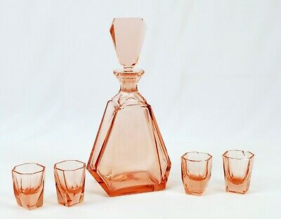 Vintage Czech Bohemian Whiskey Decanter Set Peach Pink Art Deco - Free Shipping!