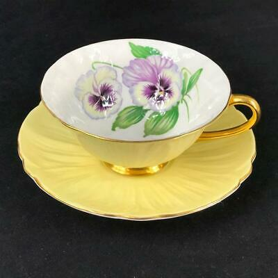 Shelley England Yellow Pansy Wide-Mouth Oleander Cup and Saucer