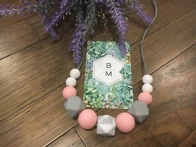 SALE Silicone Sensory (was teething) Necklace for Mum Gift Aus Pink Jewellery