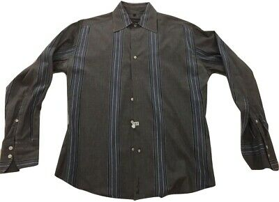 Ben Sherman Button Down Shirt  Medium Gray Blue Stripes Long Sleeve Medium 2/M