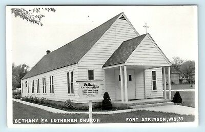Fort Atkinson, WI - VIEW OF BETHANY EVANGELICAL LUTHERAN CHURCH - RPPC - S5