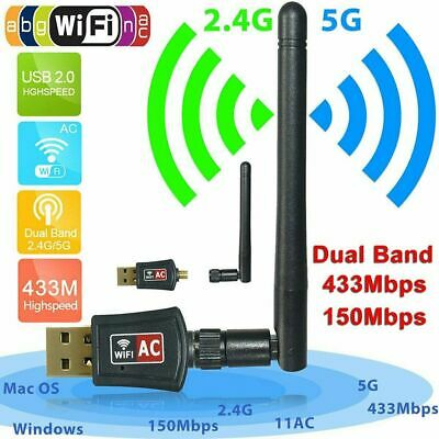 600Mbps 2.4G/5Ghz USB WiFi Dongle Wireless Network Adapter 802.11a/b/g/n/ac TY