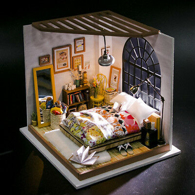 ROBOTIME DIY Bedroom Dollhouse Kit Miniature to Build Accessories Creative Gifts