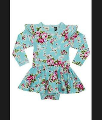 Rock Your Baby Blue Floral Dress Tule Shoulder Detail RRP $135  EUC Girly Sweet