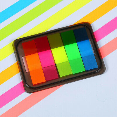 125pcs Stationery Strips Neon Colored Label Office Tabs Index Marker Translucent