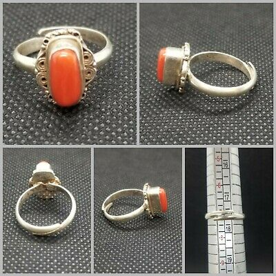Wonderful solid silver lovely handmade ring with natural coral stone