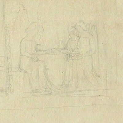 19th Old Pencil Drawing - Dessin Ancien - Religious Scene, Women
