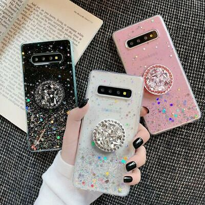 Case For Samsung S10 S9 Plus A70 A50 A10 Bling Glitter With Diamond Holder Stand