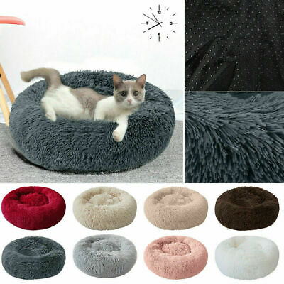 Pet Dog Cat Calming Bed Warm Plush Round Nest Comfy Sleeping Kennel Cave NEW