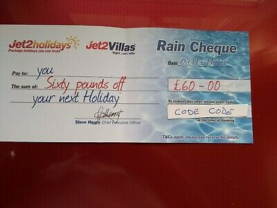 Jet 2 holidays and villas rain cheque Holiday Voucher £60 discount promo code