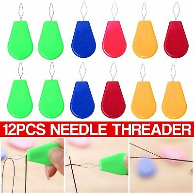 12 pcs Bow Wire Needle Threader Hand Sewing Stitch Insertion Tool Craft Plastic