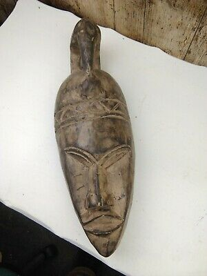 Vintage Hand Carved African Mask Head with Bird Headress Wall Hanging